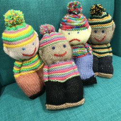 Happy-Sad face dolls knitted by residents of Jane Winstone retirement village.